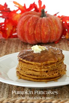 Light, fluffy spiced pumpkin pancakes flavored with cinnamon and ginger. #FoodThanks