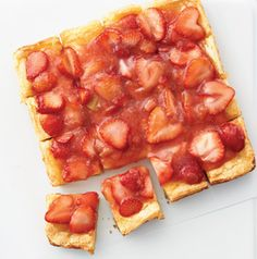 "Anything with the words ""gooey bars"" in the name has to be good, right? Make the perfect for the season by using strawberries and rhubarb."