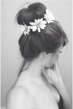 bun with flower crown