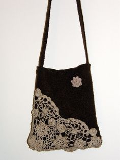 lace Chocolate Brown Messenger bag Ipad case