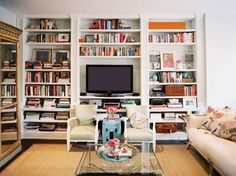 books, coffee tables, tv walls, small living rooms, shelf styling, bookcas, tvs, shelv, live room