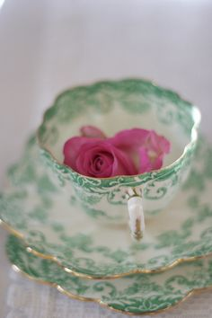 Gorgeous gilded Victorian vintage teacup. Fine china with green lace pattern.