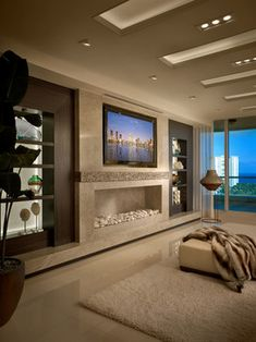 Beautiful room with a linear fireplace. Contemporary Residence Boca Raton, Florida - contemporary - Living Room - Miami - Interiors by Steven G interior design, living rooms, interiors, fireplaces, fireplace design, live room, bedroom, boca raton, contemporari resid