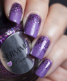Shimmer Caroline in Reverse Glitter Gradient | A Polish Addict polish nails, color, nail designs, sparkle nails, purple nails, nail arts, glitter nails, gradient nails, cute nail polish designs