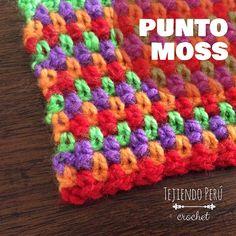 Linda puntada moss o musgo tejida a crochet en varios colores de lana... Muy fácil de tejer! Encuentran el video y diagrama en nuestra web: tejiendoperu.com
