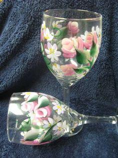 One stroke rose buds on wine glasses -