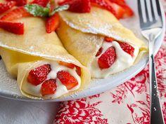 chocolates, pancak, breakfast, food, strawberries, crepes, white chocolate, cream, dessert