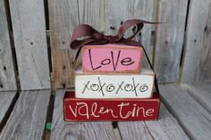 Love and XOXOXO . . . Valentine's Wood Block Stacker Gift Home Seasonal Personalized Block Decor