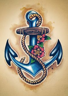 Anchor tattoo... What if we did the tattoo like this with the rope around the anchor in the infinity symbol and minus the flowers? Tattoo Ideas, Anchors, Color, Old School, Anchor Tattoos, Tattoo Patterns, Flowers, Design, Ink