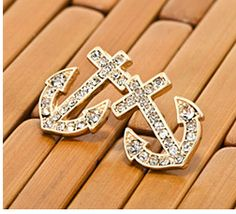 Gold Anchor Stud Earrings