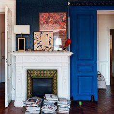 Roseland Greene. Cobalt blue wall.
