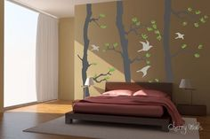 Forest  wall decal green Pine Trees with 4 birds  by CherryWalls, $152.00