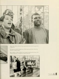 Athena yearbook 1999. In photograph: Jerrica Dubois and Lance Strong sing during the Martin Luther King vigil at the College Gate. :: Ohio University Archives