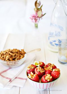 Granola Stuffed Strawberries-1 pint large fresh organic strawberries       1 cup granola (see my homemade recipes here and here)     1 cup favorite yogurt (I like Greek yogurt with a little drizzle of agave syrup)