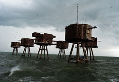 The Maunsell Sea Forts in England  http://imgur.com/a/D9iDC