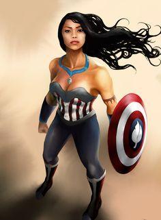 Pocahontas as Captain America.