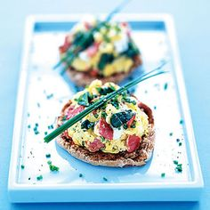 Scrambled Eggs With Smoked Salmon, Spinach, and Chives    Here's the link to the recipe: http://www.health.com/health/recipe/0,,10000001063323,00.html  This protein-packed wake-up call is full of heart-healthy good fats. And skipping cheese saves you 40 calories and 2 grams of saturated fat per serving!
