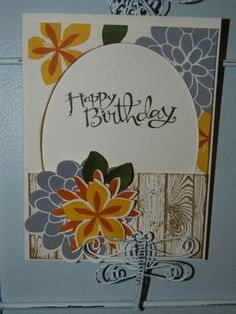 Flower Patch, Flower Fair, Sassy Salutations, Woodgrain, Stampin' UP! Our August Stamp Club project!