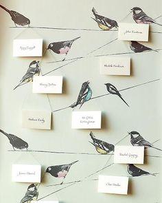 escort cards on bird wallpaper