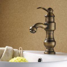 Luxury Single Handle Antique Brass Bathroom Faucet