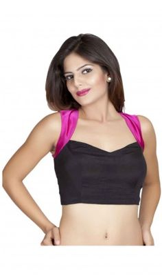 A black stain Saree Blouse Designs with fuchsia pink shoulder and racer back. Concealed in - built cups Deep back with tassel hangings Hidden hook and eye closure. For more detail visit http://www.kbshonline.com/