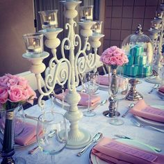 Pretty in Pink w/ Tiffany's Inspiration Bridal Shower :  wedding blue bridal shower cake cake stand elegant glass vase inspiration pink pink flowers polkatot cupcakes pretty in pink silver theme tiffany blue tiffany box vintage white candelabras Reception