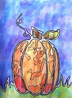 watercolor glue resist pumpkins