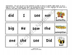 "FREE!  This is a 2-page sample of my larger product, ""Cut-and-Glue Sight Word Sentences for Spring.""  It is set of 30 cut-and-glue sentences that includes more than 50 Dolch sight words. They are appropriate for use in kindergarten and first grade. These sentences are perfect for teaching not only sight words, but also grammar and punctuation."