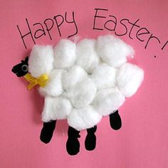 cotton, easter card, easter crafts, lambs, hand prints, kids, preschool crafts, craft ideas, kid crafts