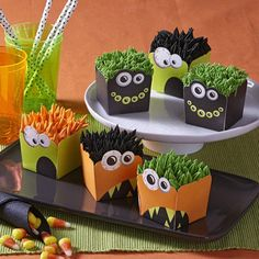 You can bake mini cakes in these easy-cleanup, bake-safe monster cups. Pipe some monster hair and you're done!
