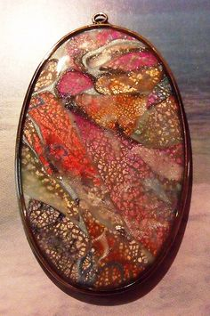 poly clay, metal leaf, alcohol inks, resin Thank you Jill Palumbo!