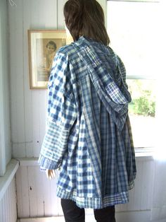 Upcycled Hoodie Shirt Jacket  Reconstructed Denim Blue Patchwork from Mens Shirts  Plus Size