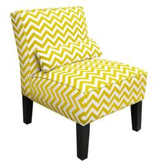 NEED THIS, will go great with the same chair in Grey for a grey and yellow living room!  Chevron Chair in Yellow Slub from the Winter Whites & Brights event at Joss and Main!