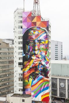 Eduardo Kobra's Mural tribute to architect Oscar Niemeyer in São Paulo, Brazil