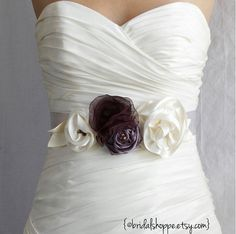 Wedding Sash- LILI - Dark Eggplant Purple, Violet, and Ivory on Silver Satin Bridal Belt. $49.00, via Etsy.