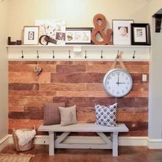DIY accent wall in entryway from plywood