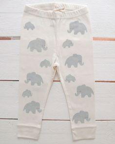 Elephant dad and elephant baby handprinted organic baby leggings.