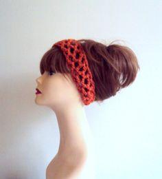 Crochet Head Band With Elastic Closure Orange Cinnamon Women Girls Clothing Hair Accessories Fashion Accessories Gift Ideas Under 20 by GrahamsBazaar