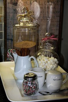 Want to get PAID to PIN? CLICK the PICTURE and watch the video to learn how. hot chocolate station - I like the jars to keep things covered if you have this over a week up to christmas.