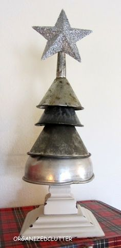 A vintage funnel Christmas tree.