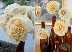 Flowers made from old sewing pattern tissue paper.