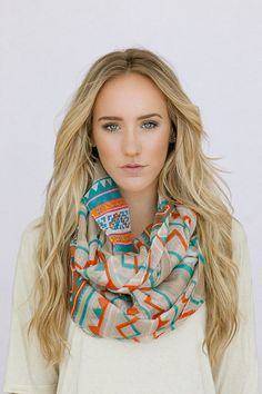 Tribal Chevron Infinity  Scarf Aztec Stripe Infinity Scarf Womens Trendy Fashion Summer Scarves (SCF-110A) via Etsy