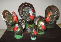 Thanksgiving - Vintage paper mache turkey candy containers from Germany
