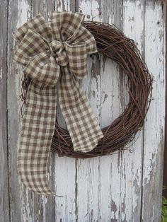 Gingham Burlap Wreath Bow