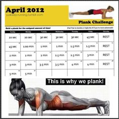 Plank challenge......this is sooooo my may challenge!!!!!! Even though dumb thing says April...since its already the third looks like i will be be doing 1-3 at once haha thats ok since i can hold a 3 minute plank already hahaha this will be easy!!