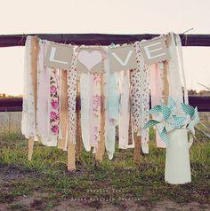 Wedding Banner - LOVE - Rag Tie Galand Banner - Shabby Chic Wedding Decor - Shabby Chic Nursery Decor - Baby Shower Banner