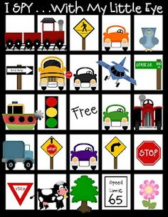 PDF file for kids I Spy game, or Alphabet Bingo game for traveling