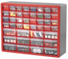 Garage storage tip: Use a multi-drawer storage cabinet that can mount on the wall to keep small parts, like nuts and bolts, from cluttering your garage.