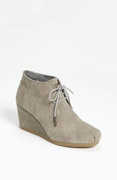 Cute new suede booties from TOMS. Getting raves for comfort, and that color will go with all your fall staples.