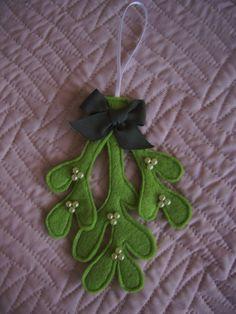Handmade Felt Mistletoe Hanging Decoration with pearl berries